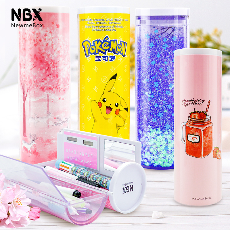 2019 NEW Creative Whiteboard Kawaii Pencil Case With Solar Calculator Multifunctional Pencilcase Pen Box For Boy Girls