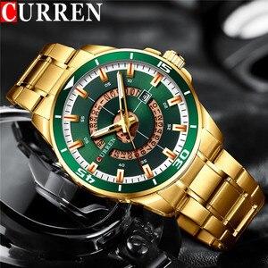 Image 1 - CURREN Sport Men Watch Top Brand Luxury Gold Military Business Waterproof Male Clock Stainless Steel Quartz Man Wristwatch 8359