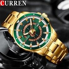 CURREN reloj deportivo para hombre, cronógrafo de pulsera de cuarzo de acero inoxidable, resistente al agua, de negocios, militar, dorado, masculino, 8359