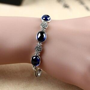 Женский винтажный браслет ZHJIASHUN, ретро халцедон, из 100% серебра 925 пробы, драгоценные камни из стерлингового серебра
