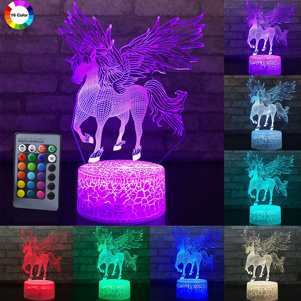 3W Remote & Touch Control 3D LED Night Light Unicorn Shaped Table Desk Lamp Xmas Home Decoration  Lovely Gifts For Kids D30