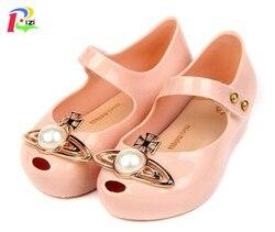 RIZI Mini Melissa dziewczęce sandały duże perły galaretki buty pcv księżniczka dziewczyna skarpetki bez palców sandały dziecięce buty dziecięce sandały w Sandały od Matka i dzieci na