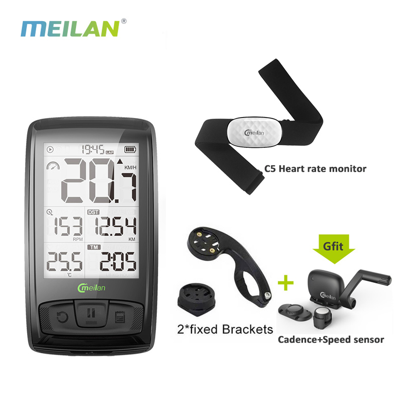 Meilan M4 Wireless Bicycle Speedometer   Heart Rate Monitor Cadence Speed Sensor Waterproof Stopwatch