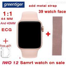 Greentiger iwo 12 połączenie Bluetooth inteligentny zegarek tętno IP68 wodoodporny ekg + PPG bezprzewodowe ładowanie Smartwatch VS IWO 8 T500 tanie tanio Brak Na nadgarstku Wszystko kompatybilny 256MB Passometer Fitness tracker Uśpienia tracker Wiadomość przypomnienie Przypomnienie połączeń