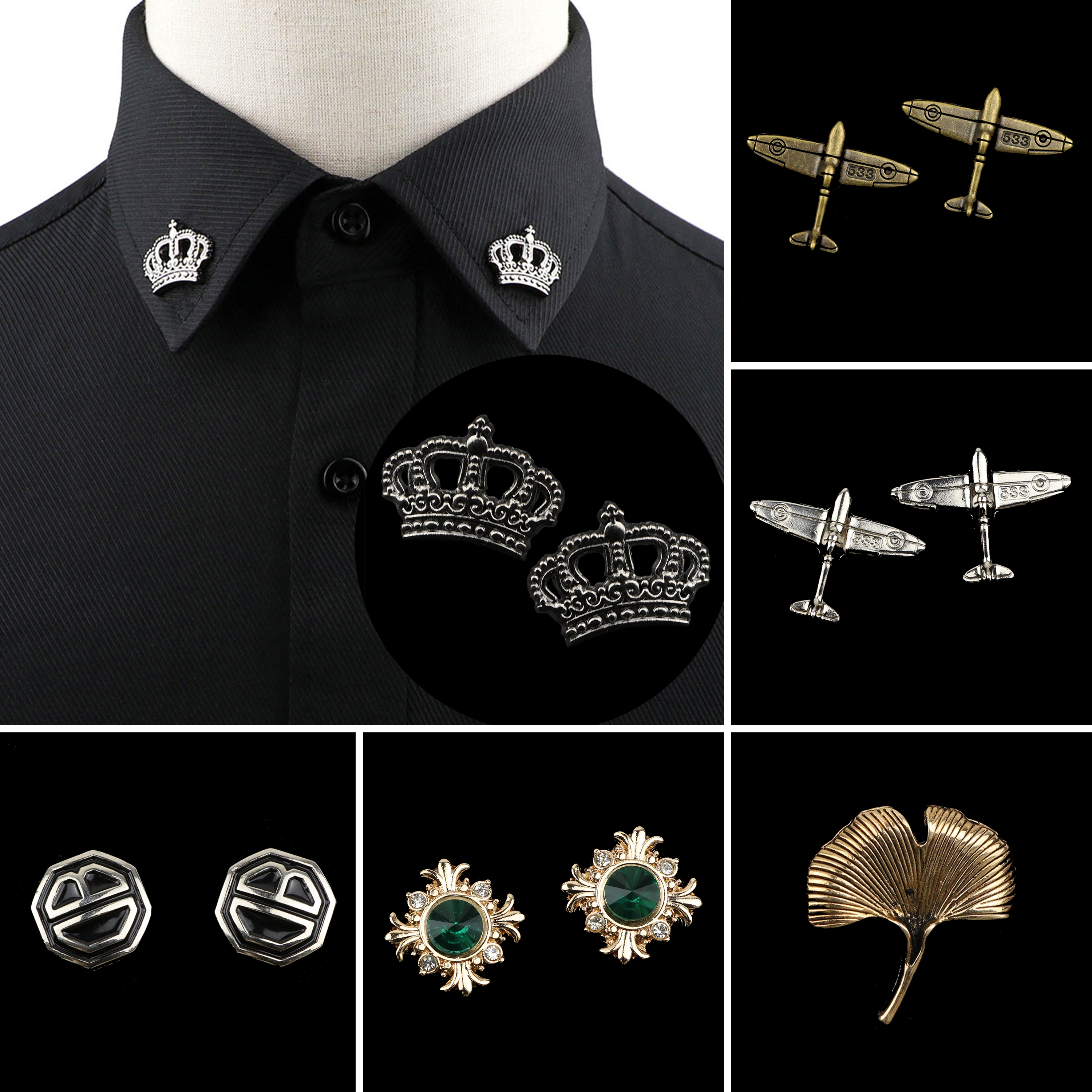 1PC/2PC Trendy Suit Shirt Collar Pin Airplane Crown Tree Leaf Gem Retro Brooches For Men Women Wedding Party Daily Accessory