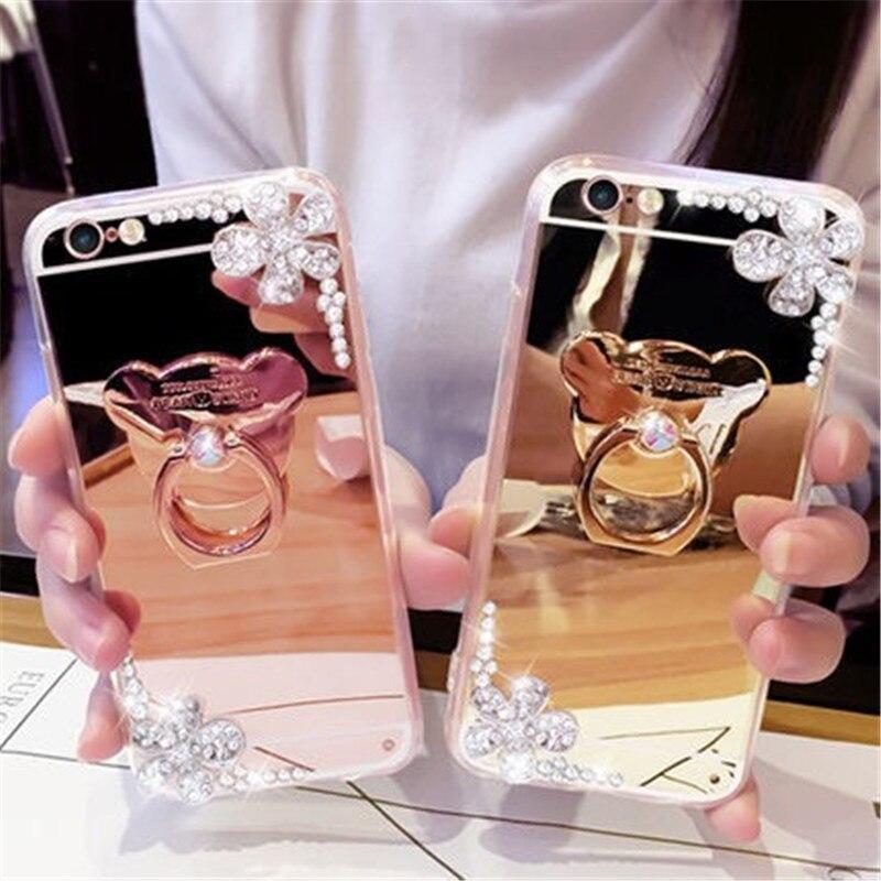 Funda para iPhone 11 XR 7 8 11 Pro Max X XS Max Plus 6 6s superficie espejo Diamante de imitación flor arena oso dedo anillo kickstand