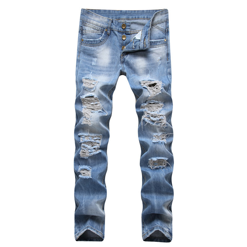 AliExpress Hot Selling MEN'S Jeans Europe And America Large With Holes Straight-Cut Washing Light Blue Trousers