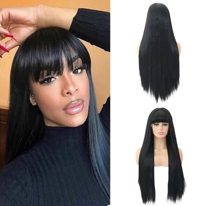 RONGDUOYI Long Black Hair Synthetic Lace Front Wig with Bangs Silky Straight Heat Resistant Lace Wigs for Women Cosplay Wig