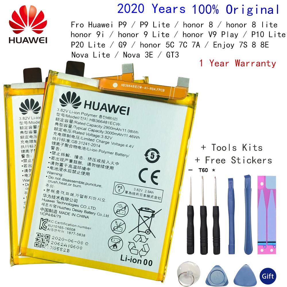Hua Wei original Real 3000mAh HB366481ECW For Huawei p9/p9 lite/honor 8/p10 lite/y6 II/p8 lite /p20 lite/p9lite battery+Tool