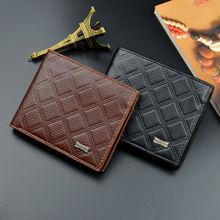 цена на Men Faux Leather Wallet Clutch Bifold Slim Casual Wallets Short Purse Credit Card Holder Carteira Masculina Billetera Hombre