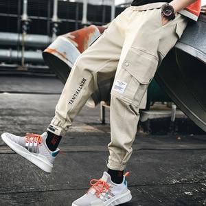 Image 3 - Herbst Neue Hip Hop Joggers Männer Schwarz Harem Hosen Multi tasche Bänder Mann Jogginghose Streetwear Casual Herren Hosen S 3XL