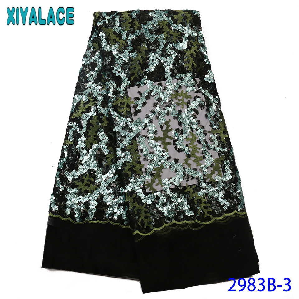 Latest African Laces 2019,Nigerian Lace Fabrics With Sequins,Hot Sale French  Fabric Lace KS2983B-3