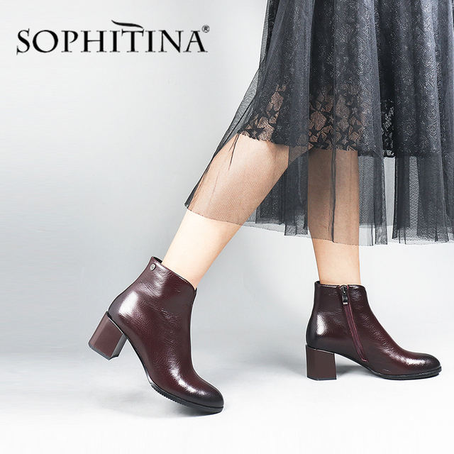 SOPHITINA Fashion Special Design New Boots High Quality Genuine Leather Comfortable Square Heel Womens Shoes Ankle Boots PC374