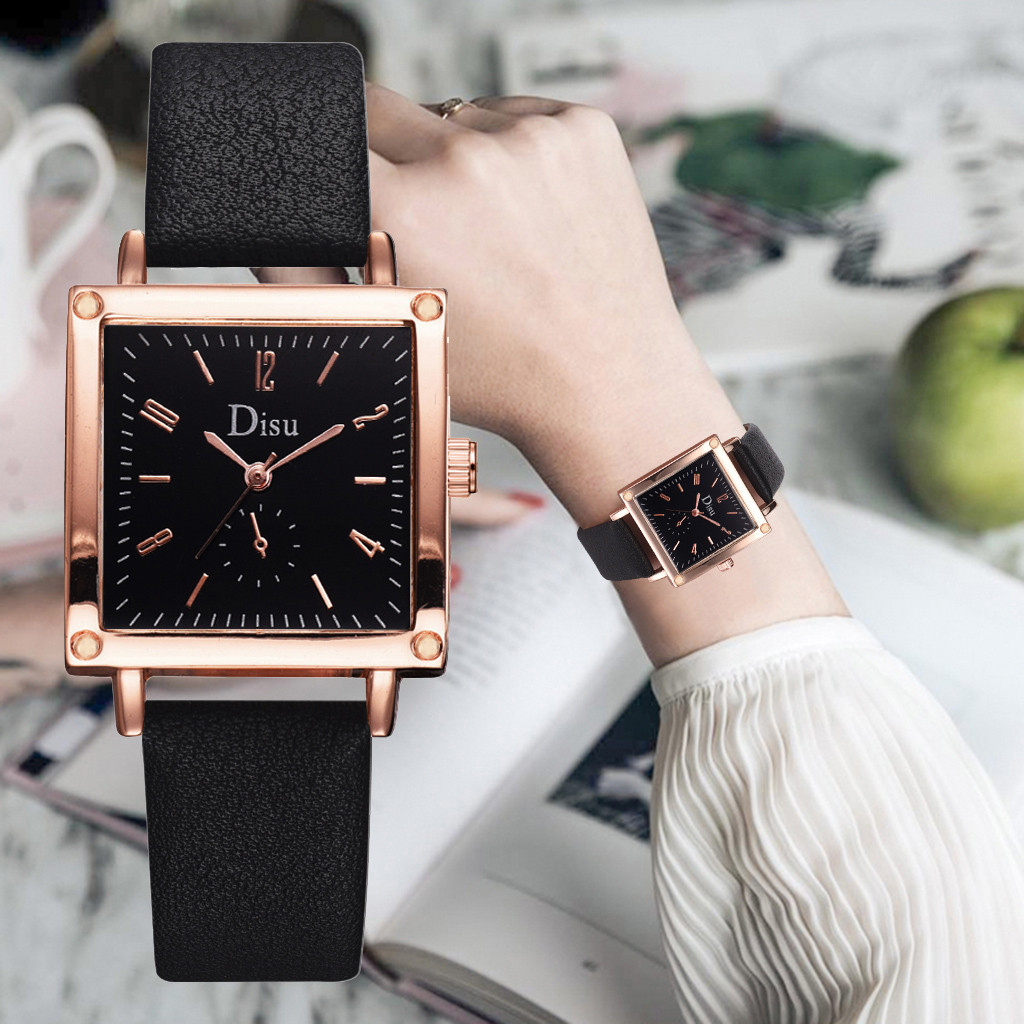Disu Luxury Women Watches Fashion Square Dial Leather Band Simple Ladies Quartz Watch Romantic Female Dress Gift Reloj Mujer