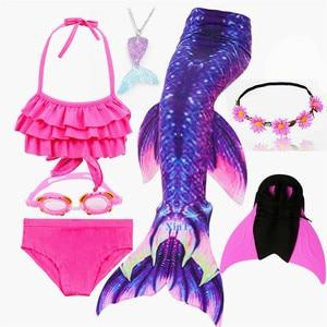 Image 2 - 수영을위한 키즈 수영복 인어 꼬리 Monofin Fin girls가있는 인어 꼬리 수영 Kids Mermaid Cosplay Costume