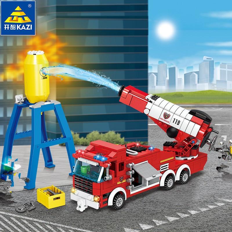 440Pcs City Fire Water Gun Car Building Blocks  Firefighter Figures Truck Vehicles Bricks Toys for Children