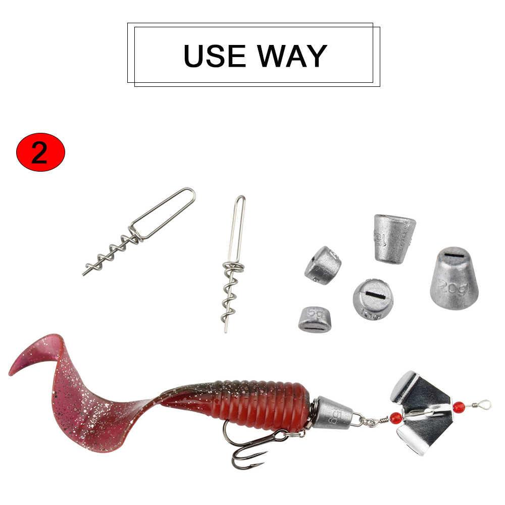 RoseWoodคงที่ตะกั่วน้ำหนักSinkerตื้นชุดสกรูสำหรับหนอนเหยื่อตกปลา-45มม.-5G/7G/10G/15G/20G (ตะกั่ว)