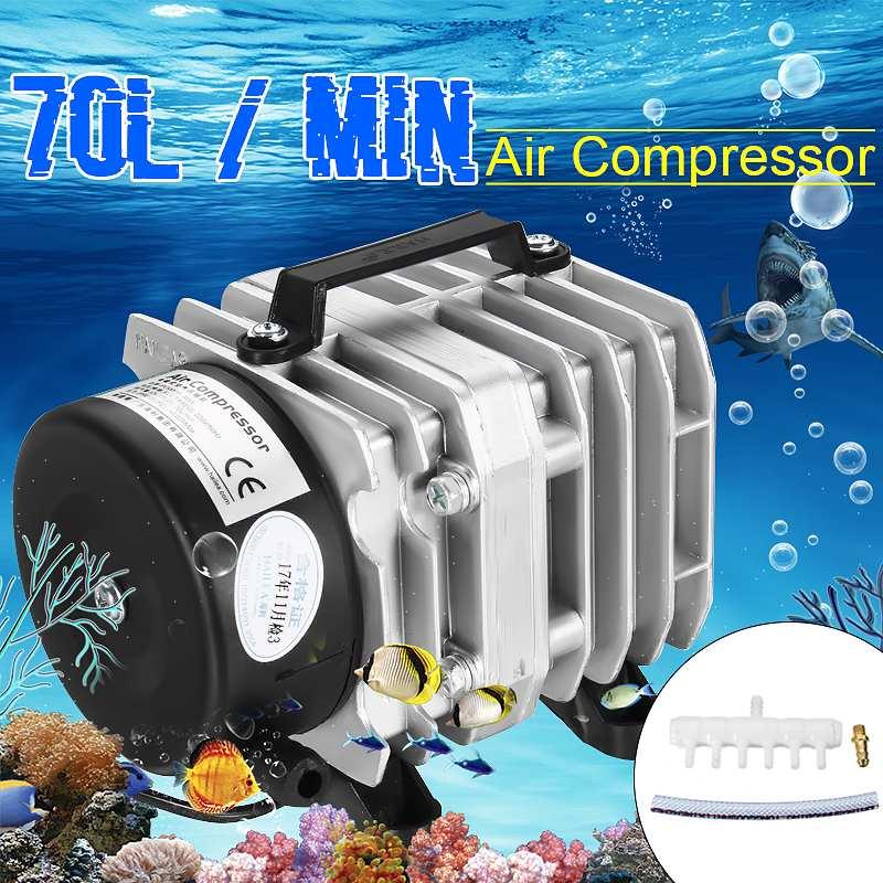 45W 220V 70L/min Electromagnetic Air Compressor Pump Oxygen Aquarium Fish Pond Compressor Hydroponic  Air Aerator Pump ACO-318