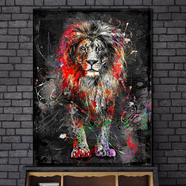 Abstract Graffiti Art Lion Painting Printed on Canvas 3