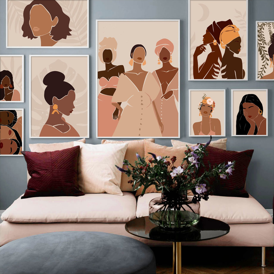Siyah kız soyut çizim kaya duvar sanatı tuval yağlıboya İskandinav posterler ve baskılar duvar resim oturma odası ev dekor için