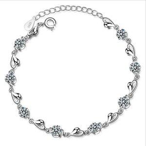 Женские винтажные браслеты Everoyal, браслеты из серебра 925 пробы с блестящим цирконием, розовое сердце, свадебные украшения