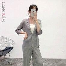 Coat LANMREM Button Turn-Down-Collar Spring Pleated Vestido WJ74104 Female Vintage Plus-Size