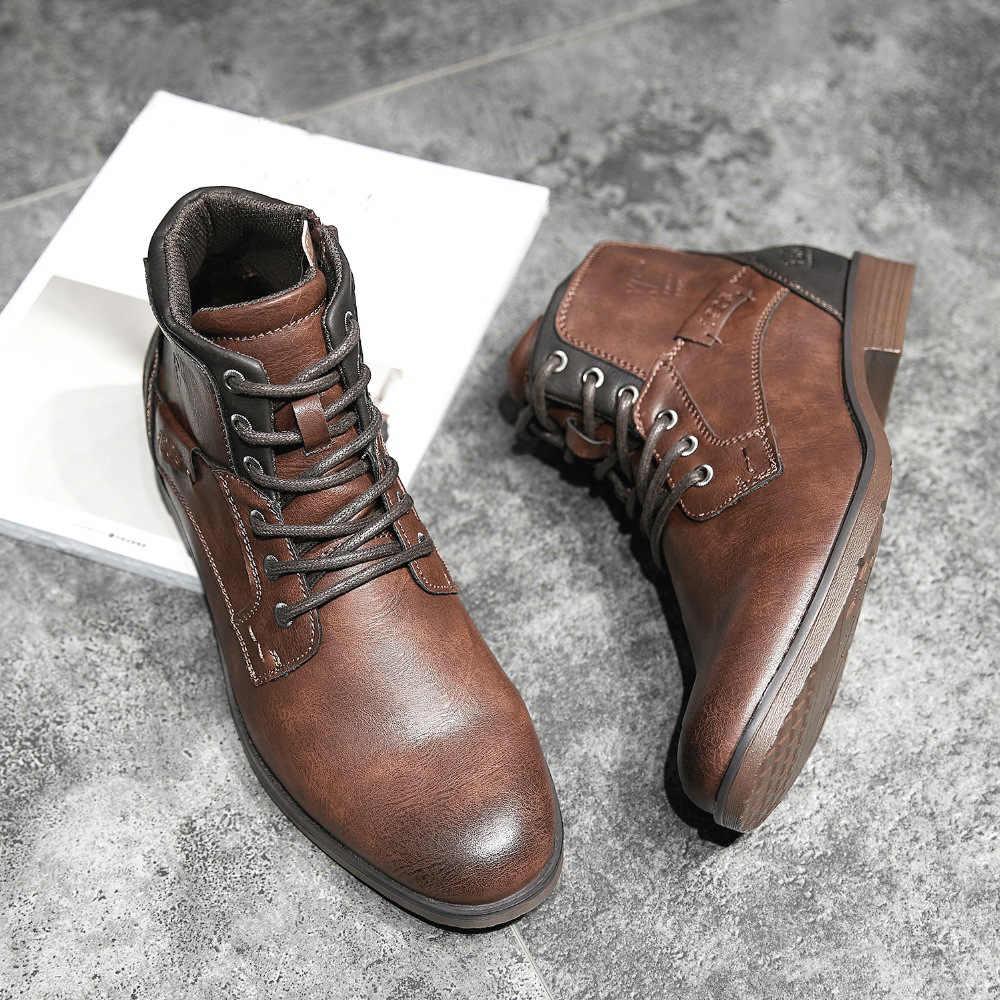 ZYYZYM erkek botları deri ilkbahar sonbahar Vintage stil bileğe kadar bot Lace Up ayakkabı moda rahat ayakkabılar adam Botas Hombre