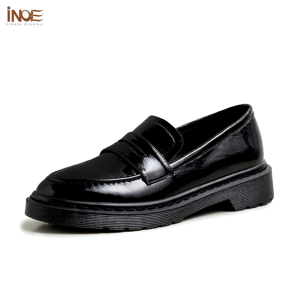 INOE 2020 Genuine Leather Women Shoes For Spring Casual Sneakers Patent Leather Autumn Shoes Women Short Heel Pumps Black