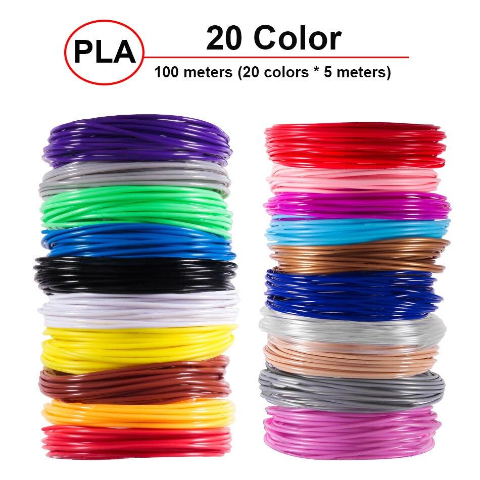 Plastic for 3d Pen 20 Colors 5 meter 10 Meter PLA 1.75mm 3D Printer Filament Printing Materials Extruder Accessories Parts