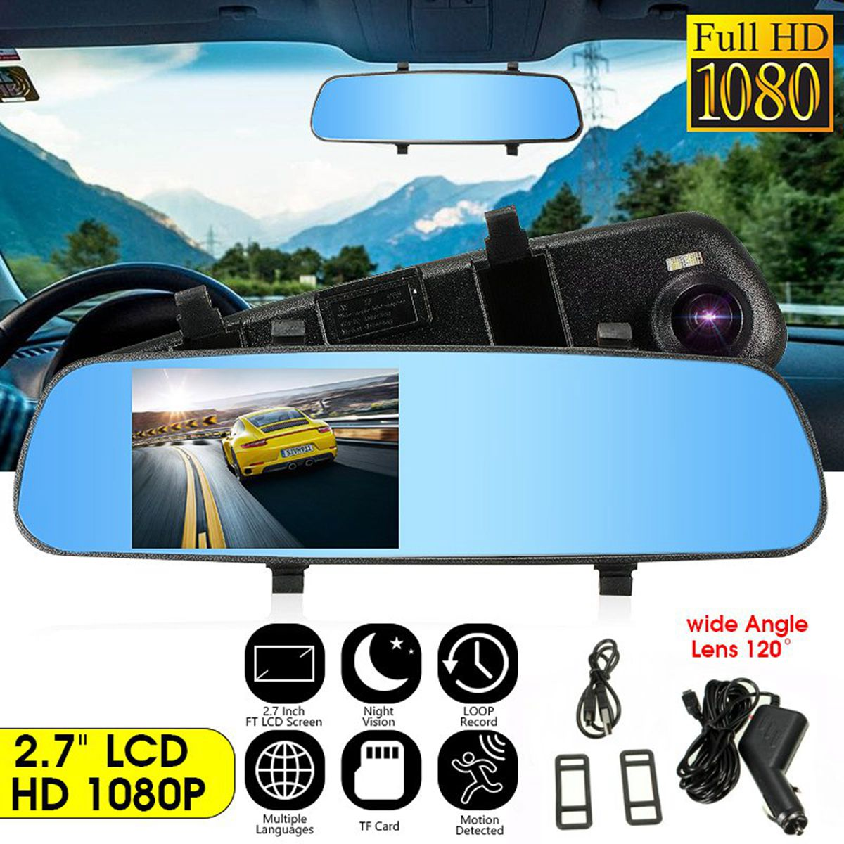 DVR Cam Rearview-Mirror Video-Recorder Data-Cable Vehicle Digital 1080P TFT HD W/pc-Usb