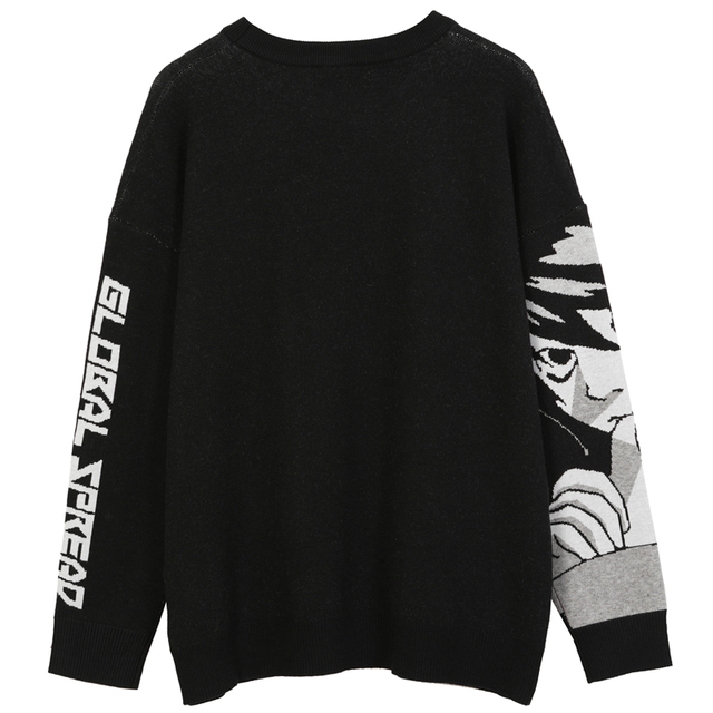 Mens Hip Hop Streetwear Harajuku Sweater Vintage Retro Japanese Style Anime Girl Knitted Sweater 2020 Autumn Cotton Pullover 2