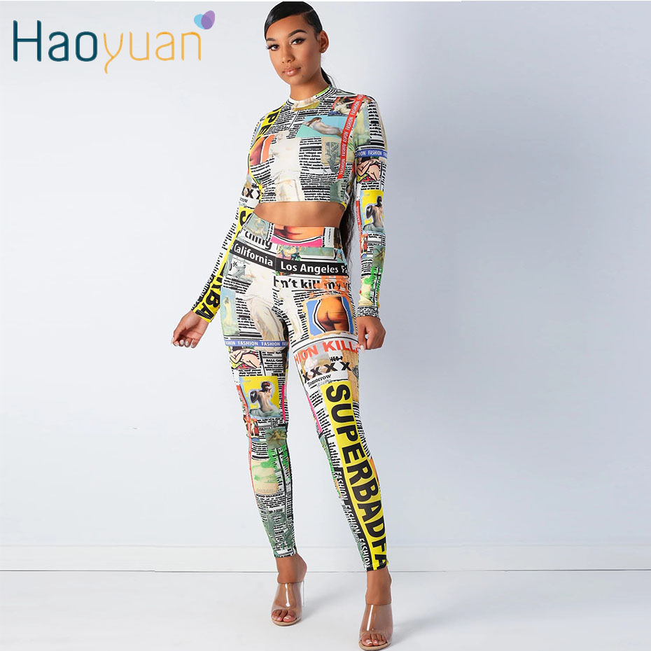 HAOYUAN Newspaper Print Two Piece Set Tracksuit Women Festival Clothing Crop Top And Pant Fall Matching Sets Sexy Club Outfits