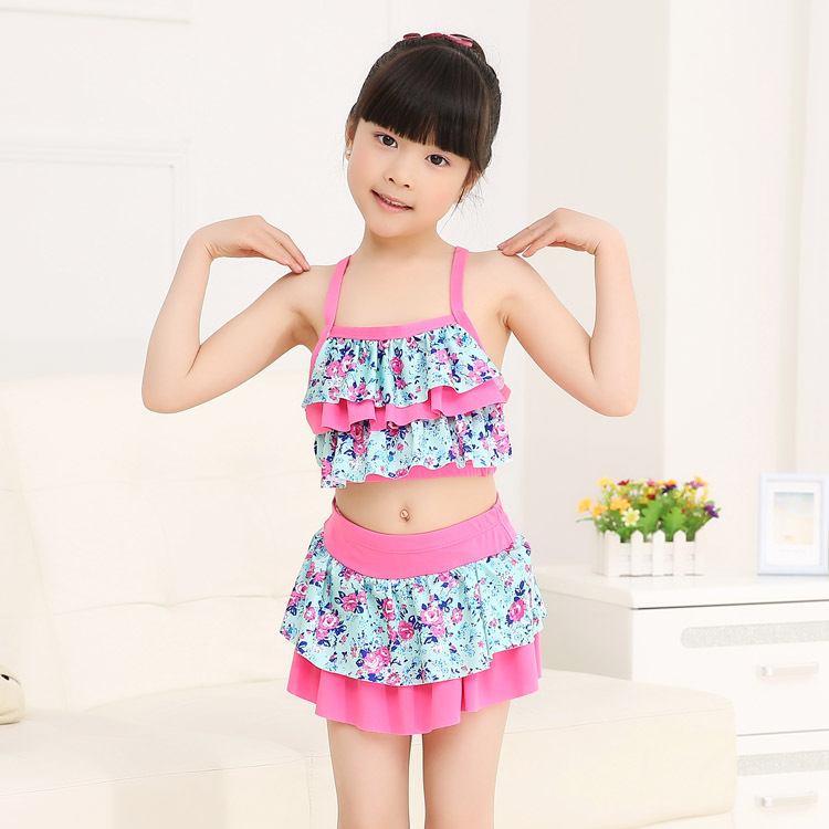 South Korea KID'S Swimwear GIRL'S Swimwear Princess Bikini Split Skirt-Small Children Floral Tour Bathing Suit Wholesale