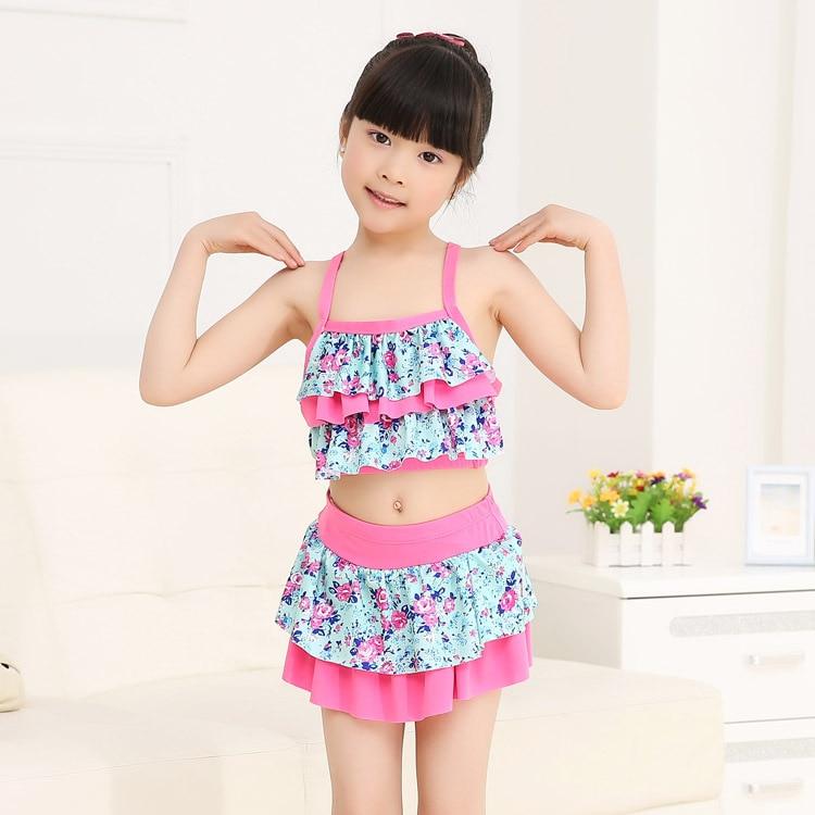South Korea KID'S Swimwear GIRL'S Swimwear Princess Bikini Split Skirt-Small Children Floral Tour Bathing Suit Wholesale