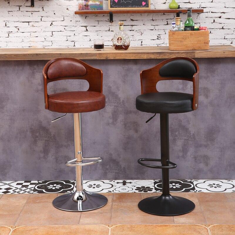 30% B Solid Wood Bar Stool European Bar Stool Home Retro Backrest Lift Rotating High Stool Front Desk Cashier Bar Chair