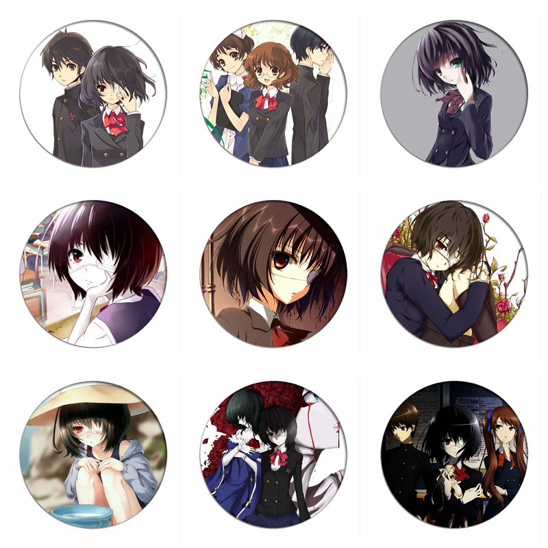 Japan Anime Another Cosplay Badges Misaki Mei Brooch Icon Sakakibara Kouichi Collection Bags Breastpin For Backpacks Clothing