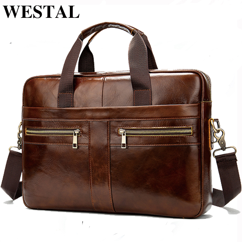 WESTAL Bag Men's Leather Laptop Bag Men's Briefcase Handbag Men's Genuine Leatehr/shoulder Bag Office Computer Bag For Men 2019