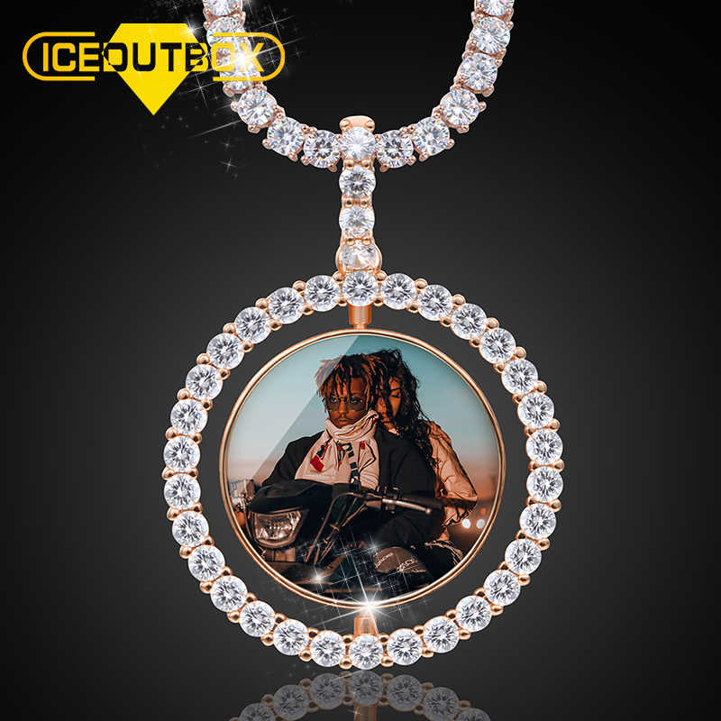 Hot Custom Make Photos Rotating Double-sided Medallions Pendant Necklace AAA Cubic Zircon Tennis Chain For Men's Hip Hop Jewelry