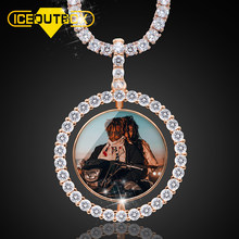 Hot Custom Make Photos Rotating Double-sided Medallions Pendant Necklace AAA Cubic Zircon Tennis Chain For Men's Hip Hop Jewelry(China)
