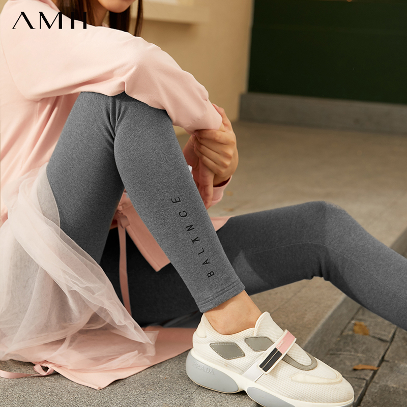 Amii Minimalism Winter Fashion Printed Women's Leggings Causal Thick Fleece Slim Fit Stretch Thermal Women's Pants  12020292 1
