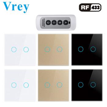 Vrey Standard ue dotykowy przełącznik 2 Gang1Way Lightes przełączniki inteligentny pilot zdalnego sterowania przełączniki ścienne ekran Panel ze szkła hartowanego tanie i dobre opinie CN (pochodzenie) ROHS Intelligent touch switch and remote control switch Z tworzywa sztucznego PRZEŁĄCZNIKI VR-RF-02D