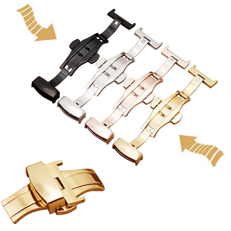 10-24mm Stainless Steel Butterfly Deployment Watch Band Buckle Automatic Double Click Buckle Watch Clasp