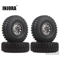 INJORA 4Pcs 1.9 Beadlock Wheel Rim Rubber Tire Set for 1/10 RC Crawler Traxxas TRX-4 Axial SCX10 90046 D90 Voodoo KLR 1