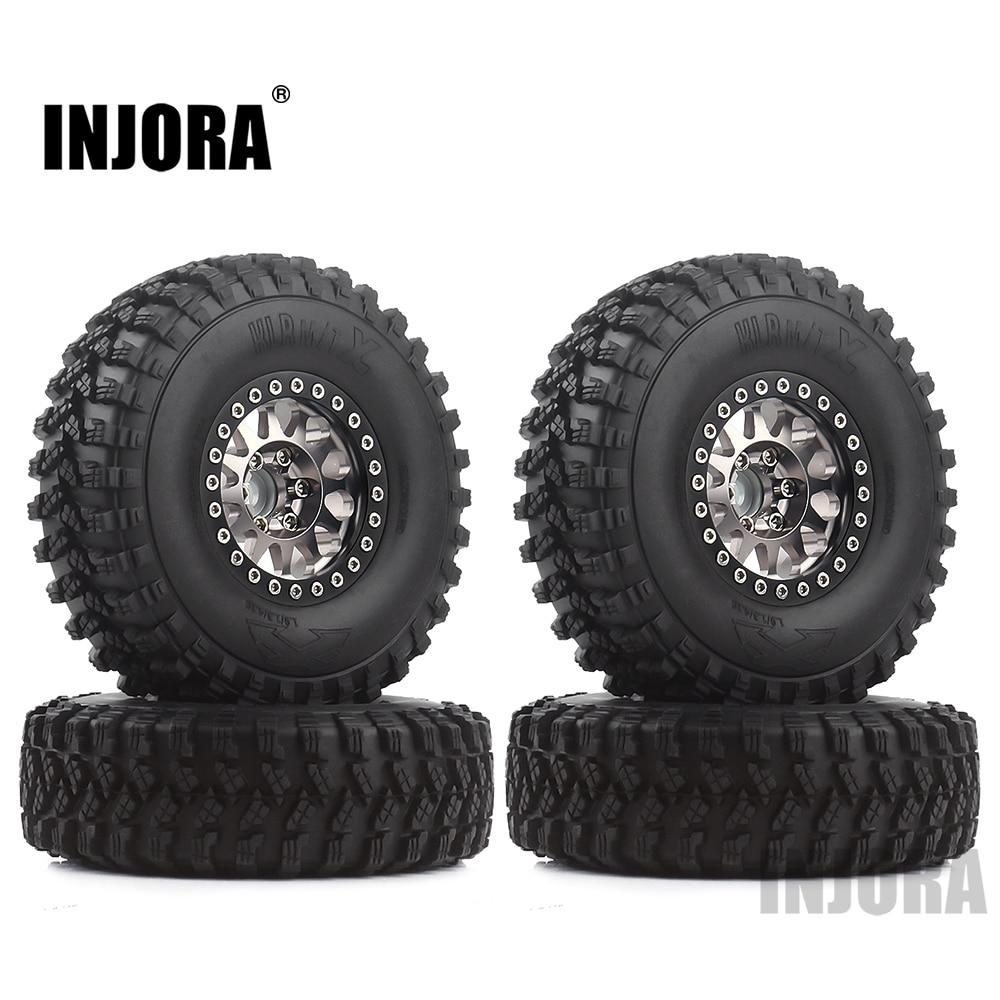 INJORA 4Pcs 1.9 Beadlock Wheel Rim Rubber Tire Set For 1/10 RC Crawler Traxxas TRX-4 Axial SCX10 90046 D90 Voodoo KLR