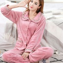 2 Pcs/Lot Autumn Winter Warm Flannel Women Pyjamas Sets Thick Coral Velvet Long Sleeve Pajamas Set for Homewear Sleepwear