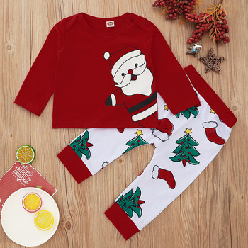 2pc baby set newborn Infant Baby Boy clothes Santa Christmas T shirt Tops+ Christmas Pants baby clothes Autumn Outfits set
