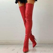 Mulheres sexy saltos altos sobre o joelho botas femininas vermelho coxa botas altas zíper sapatos senhoras outono inverno botas longas mais tamanho 43