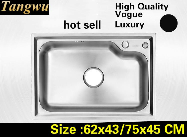 Free Shipping Apartment Do The Dishes Luxury Kitchen Single Trough Sink 304 Stainless Steel Hot Sell Big 62x43/75x45 CM