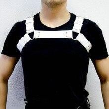 Moda Sexy Men bielizna ciała Faux Leather regulowany uprząż ciała Bdsm Bondage fetysz Gay Costume jakości Sex zabawki