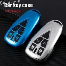 TPU 자동차 원격 키 커버 케이스 홀더 Changan CS35 플러스 CS55 플러스 CS75 플러스 2019 2020 3/4/5 버튼 키 쉘 액세서리